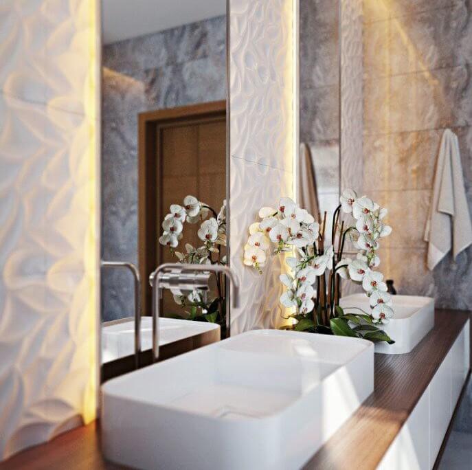 Яркое освещение для маленькой ванной комнаты