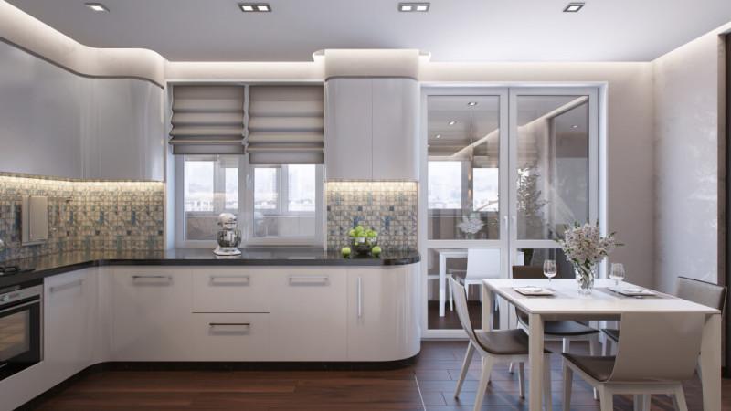 Современная кухня с фартуком из мозаики