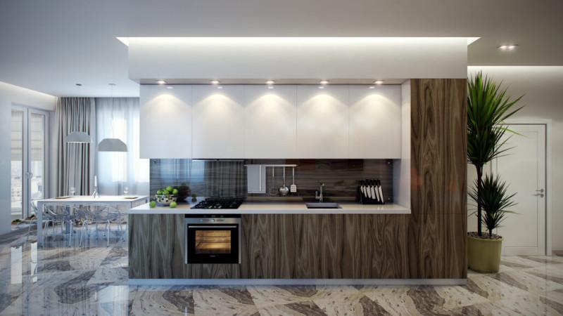 Дизайн кухни с полами из керамогранита