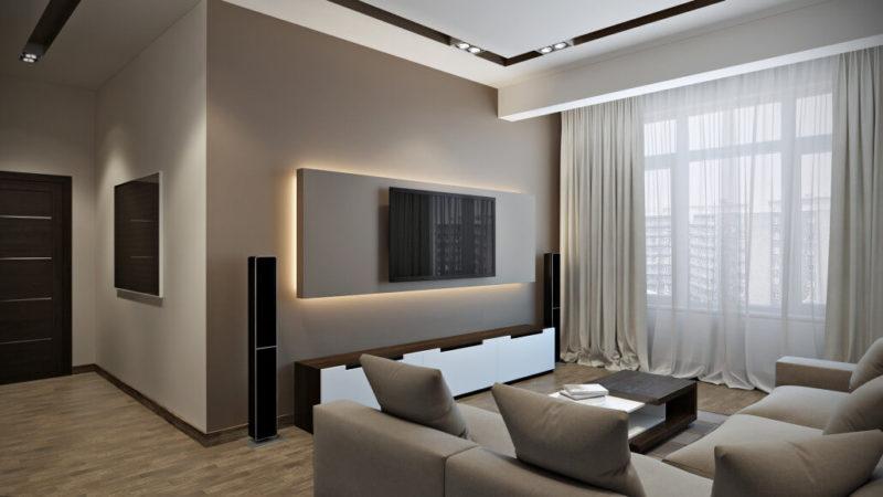 Восхитительная гостиная в кофейных тонах - современный стиль интерьера