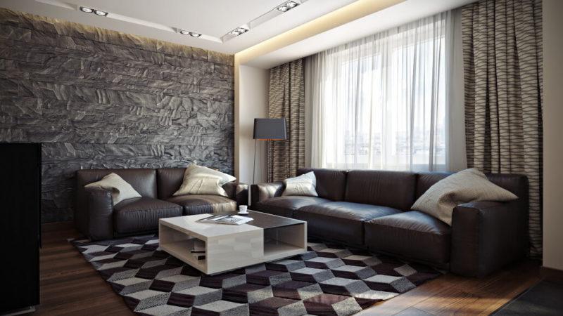 Объемная акцентная стена в дизайне небольшой квартиры - современный стиль