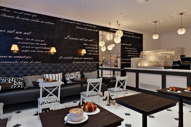 Черно-белый уютный дизайн кофейни