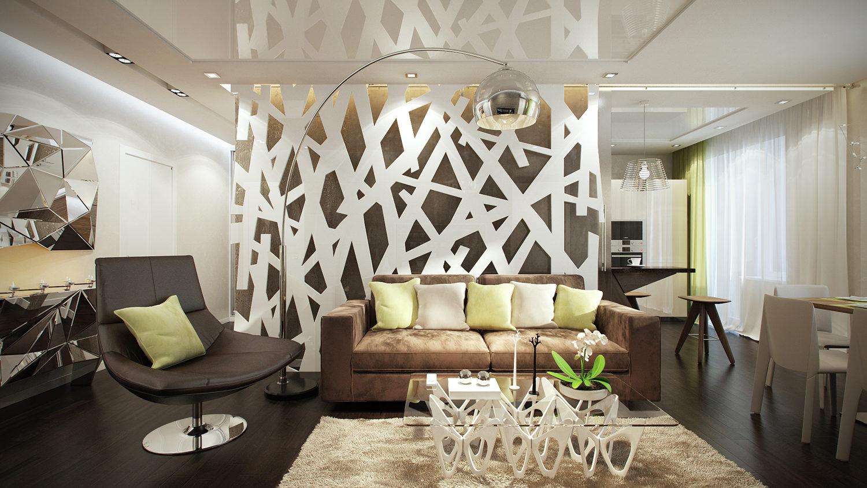 Проект яркого дизайна однокомнатной квартиры