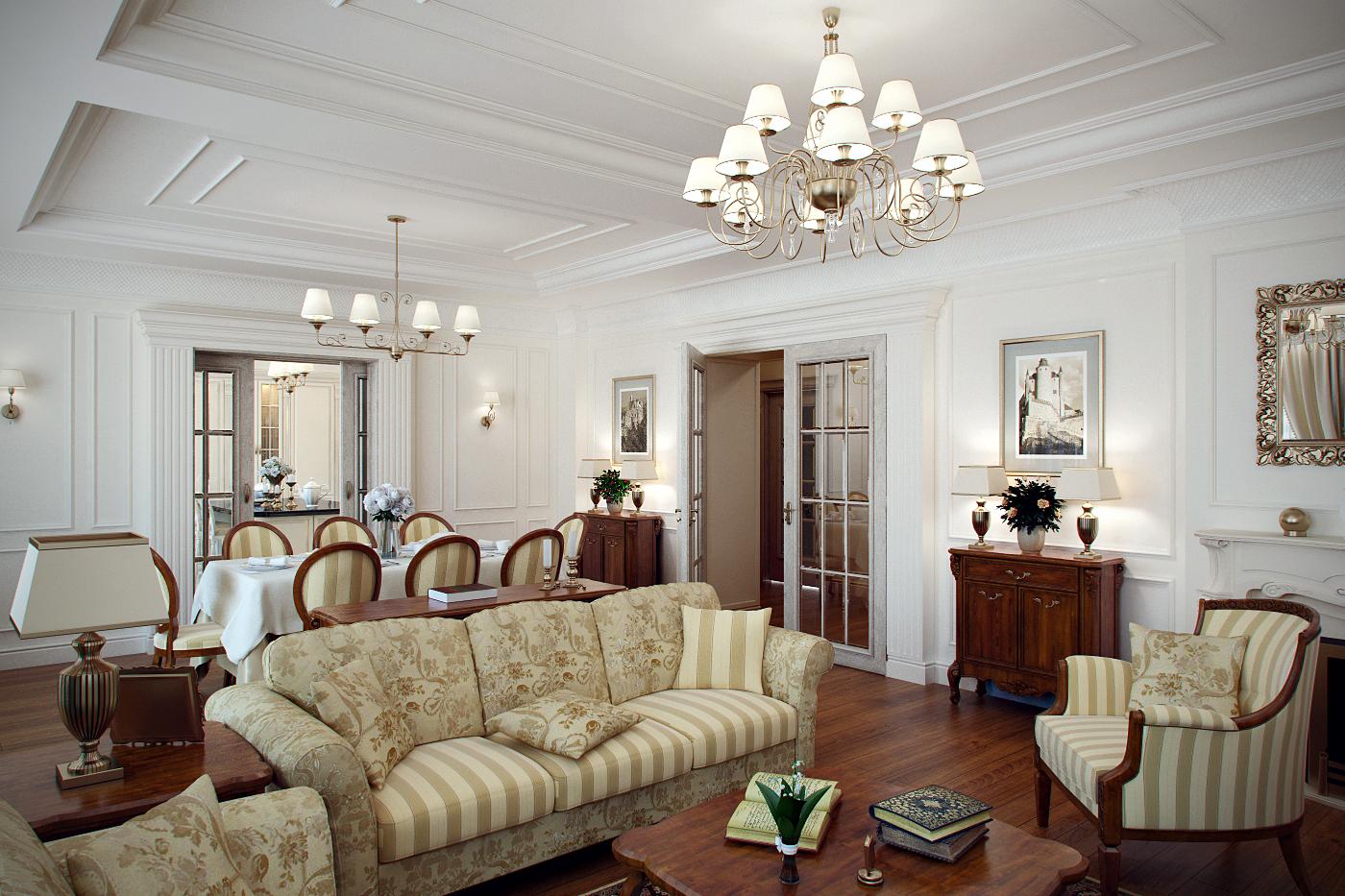 Дизайн классической гостиной и столовой