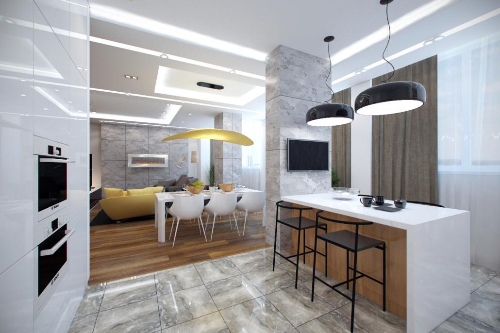 Дизайн модных апартаментов в ЖК Патриотика