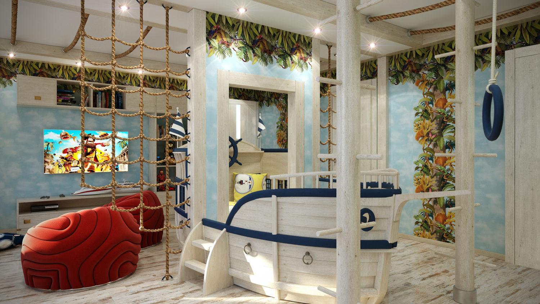 Морской дизайн игровой детской комнаты