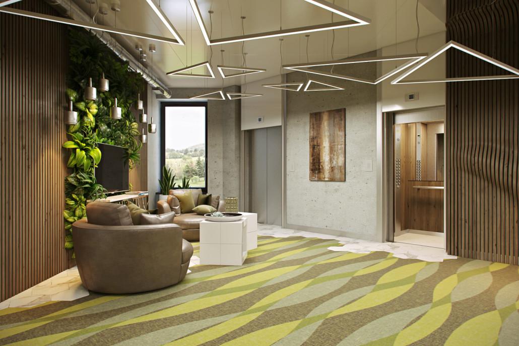 Дизайн лифтового холла в офисном здании