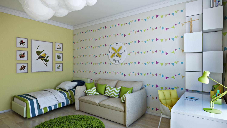 Детская комната, акценты зеленого в дизайне