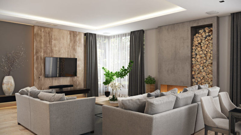 Акцентная стена из дерева в качестве панели для телевизора в интерьере гостиной-студии