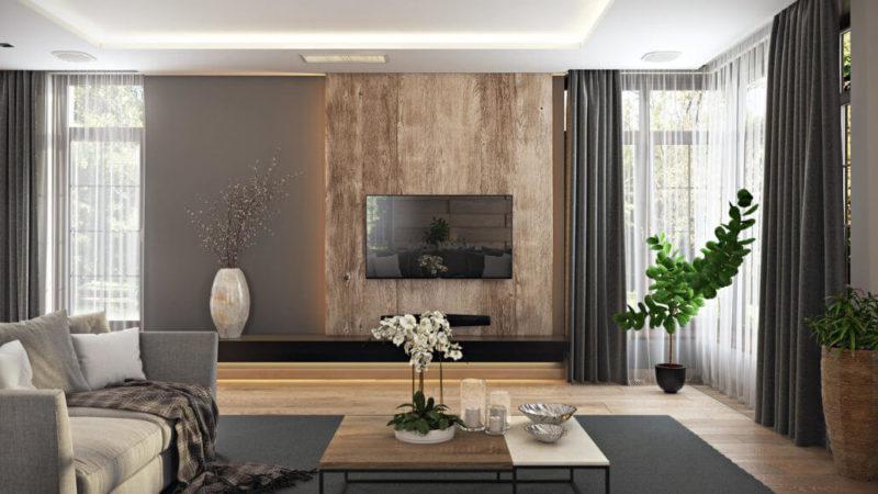 Панель для телевизора из дерева в интерьере гостиной-студии