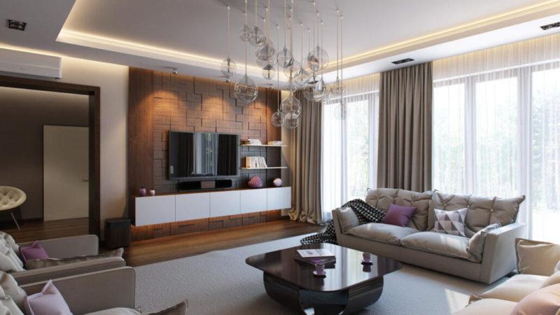 Фокусная точка в интерьере гостиной - деревянная панель для телевизора
