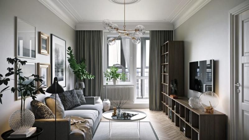 Деревянные напольные покрытия в интерьере гостиной в сером