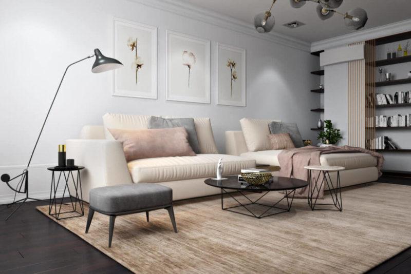 Деревянный пол в просторной гостиной в скандинавском стиле