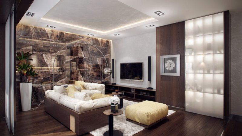 Мебель и полы из дерева в интерьере гостиной с мраморной акцентной стеной