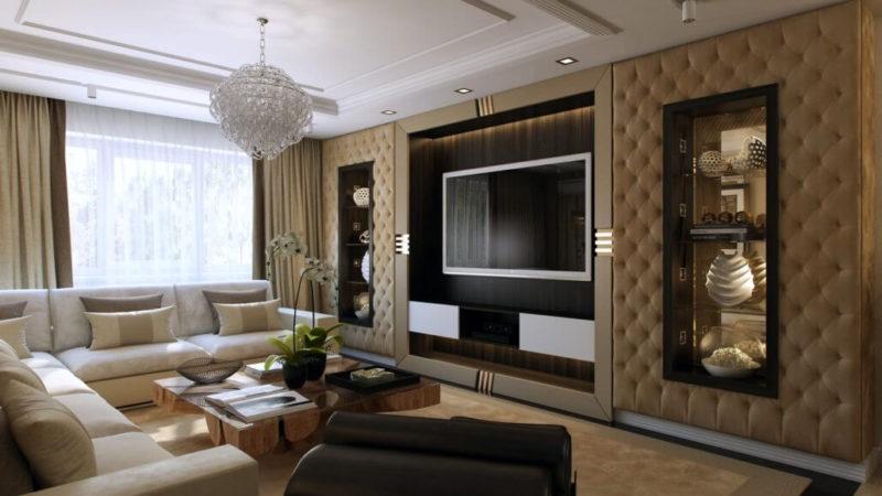 Столик из дерева со стеклянной столешницей в интерьере гостиной