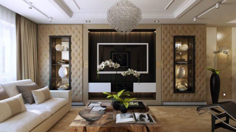 Мебель из дерева в интерьере современной гостиной