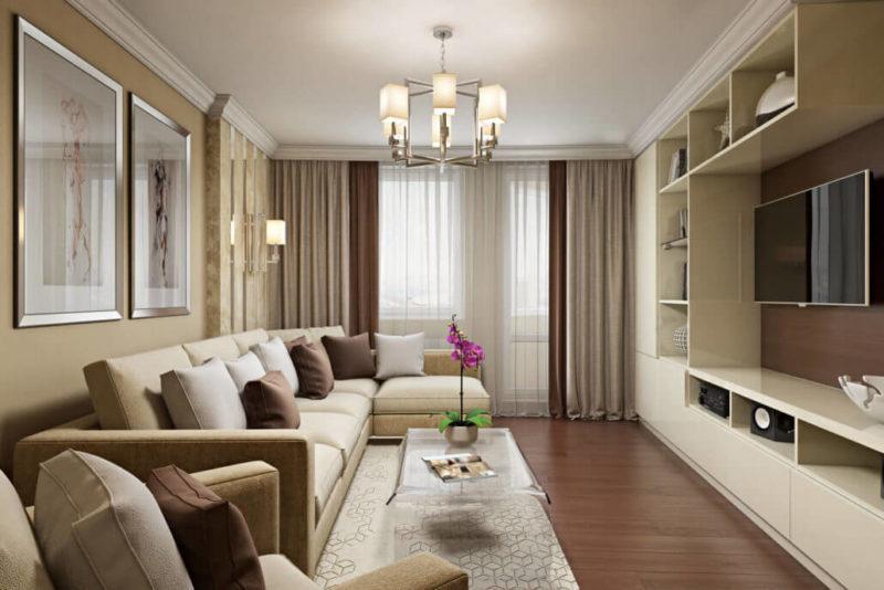 Деревянные полы и настенные панели в современной гостиной