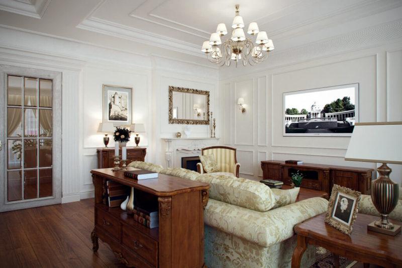 Мебель и декоративные стеновые панели из дерева в традиционном интерьере гостиной