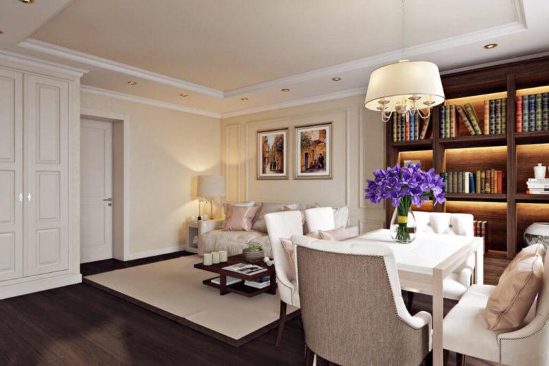 Полы и мебель из натурального дерева в интерьере гостиной-студии