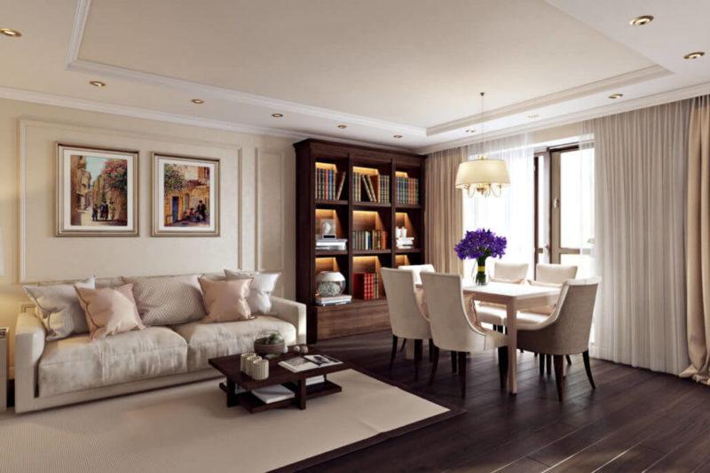 Полы, стеновые панели и мебель из дерева контрастных цветов в интерьере гостиной