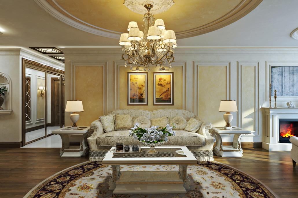 Вариант классического дизайна большой квартиры