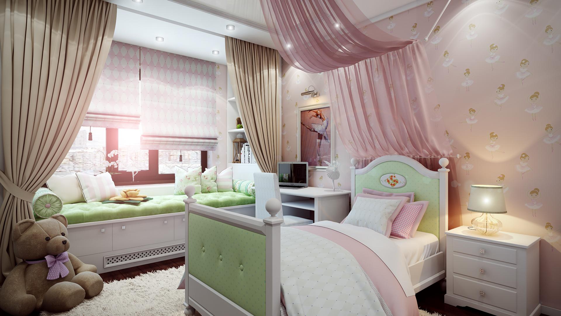 Дизайн детской спальни в нежных тонах