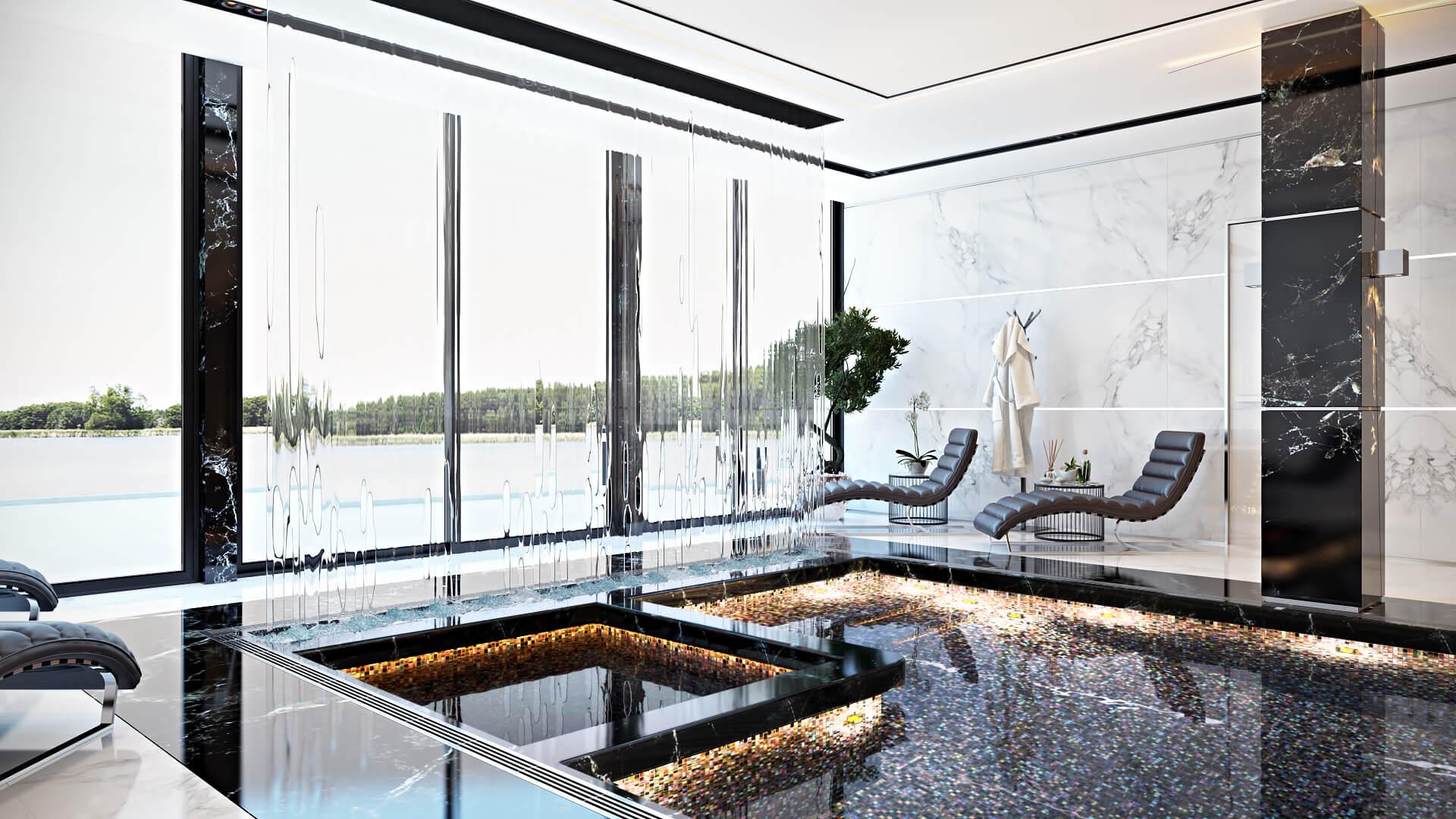 Незабываемый дизайн бассейна для роскошного отдыха с панорамным окном Вид02