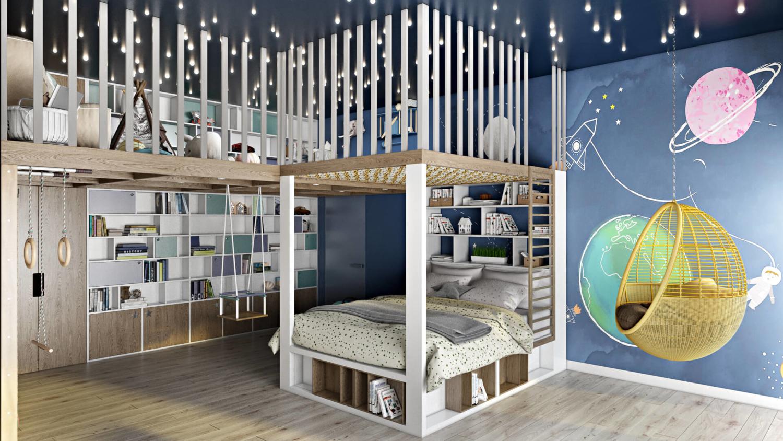Спальня и второй ярус в дизайне детской комнаты для мальчика
