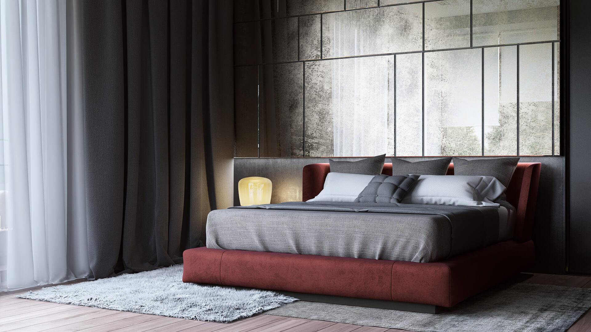 Стильный дизайн-проект спальни с комфортным рабочим местом Вид02