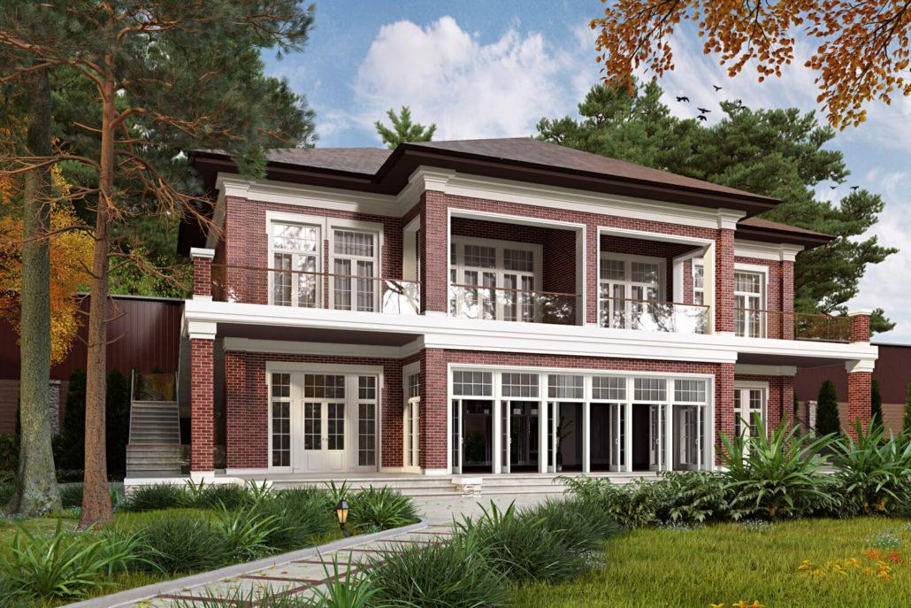 Дизайн фасада двухэтажного дома под Киевом