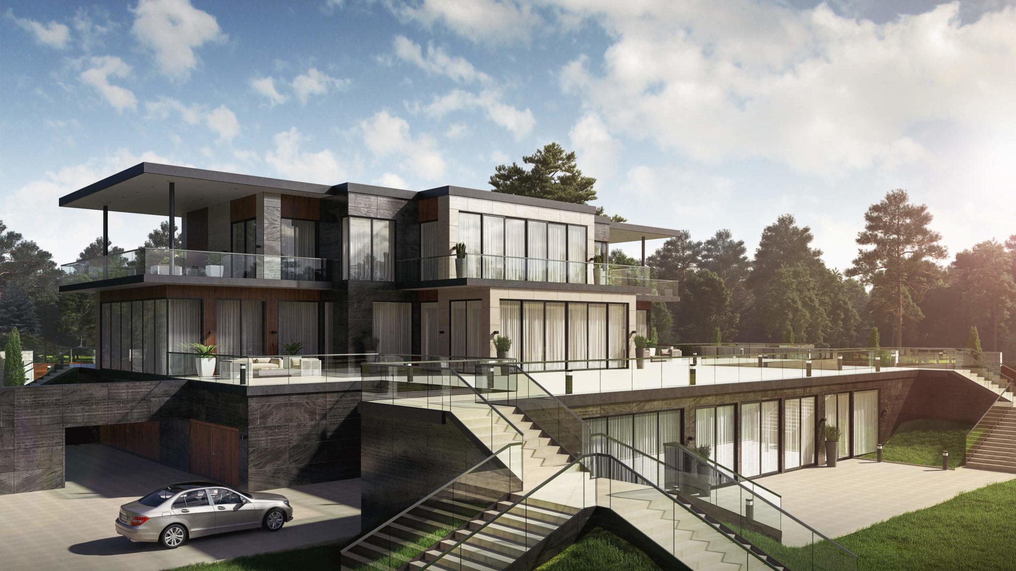 Эффектный дизайн фасада дома в дневном и вечернем свете Вид04