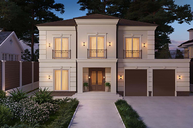 Проект дизайна фасада частного дома Вид01