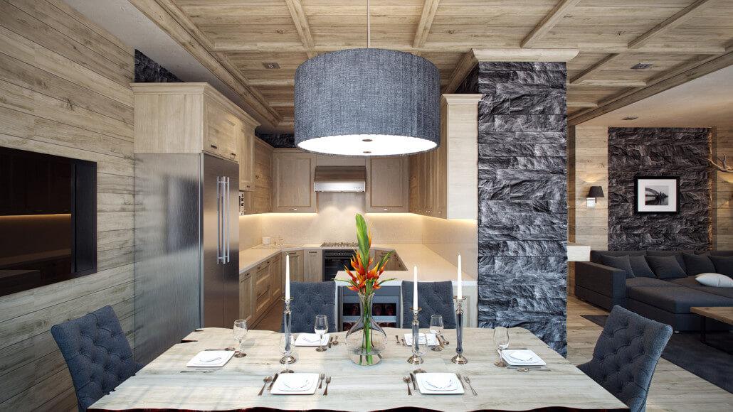 Теплый и уютный дизайн интерьера деревянного дома. Вид03
