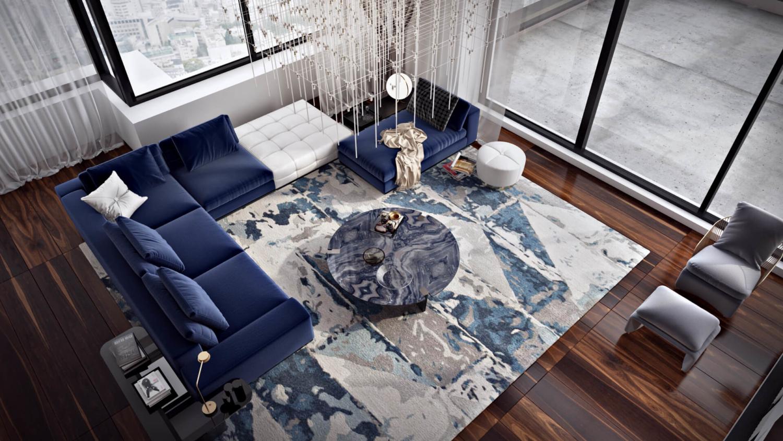 Дизайн современной гостиной для проекта пентхауса Вид05