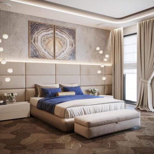 Роскошный дизайн спальни для проекта современного пентхауса