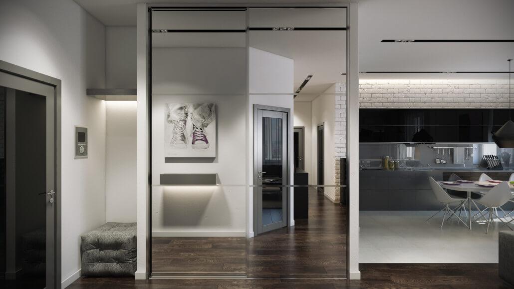 Светлый дизайн интерьера прихожей с зеркальным шкафом