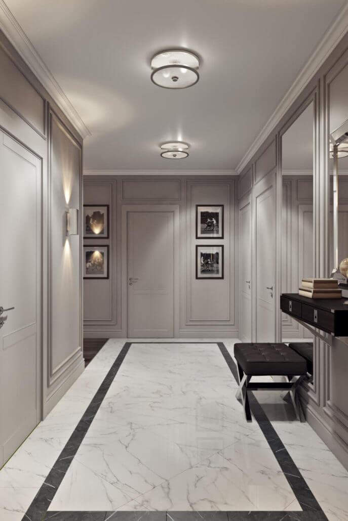 Светлый дизайн интерьера прихожей в современной квартире