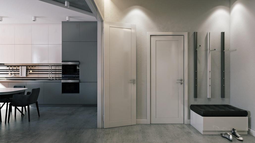 Современный дизайн прихожей с минимумом мебели
