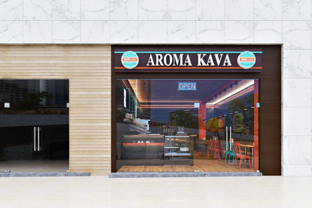 Современный дизайн кофейни в Одессе: вариант фасада01