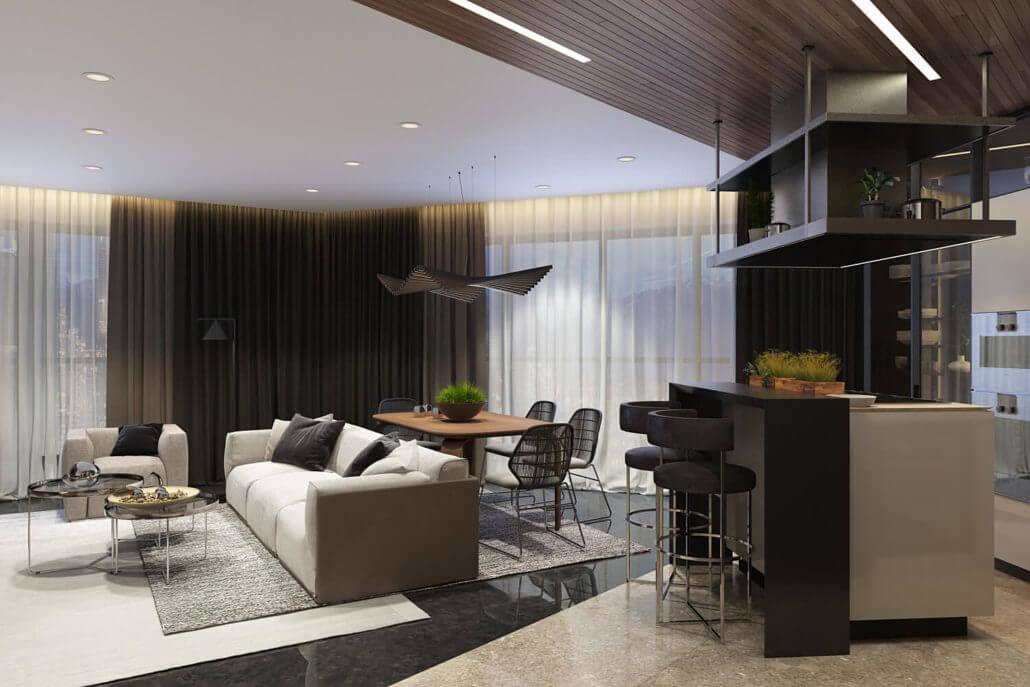 Современный дизайн кухни-гостиной в черно-белой цветовой гамме