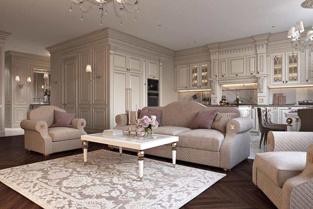 Традиционный дизайн кухни-гостиной с эффектным диваном