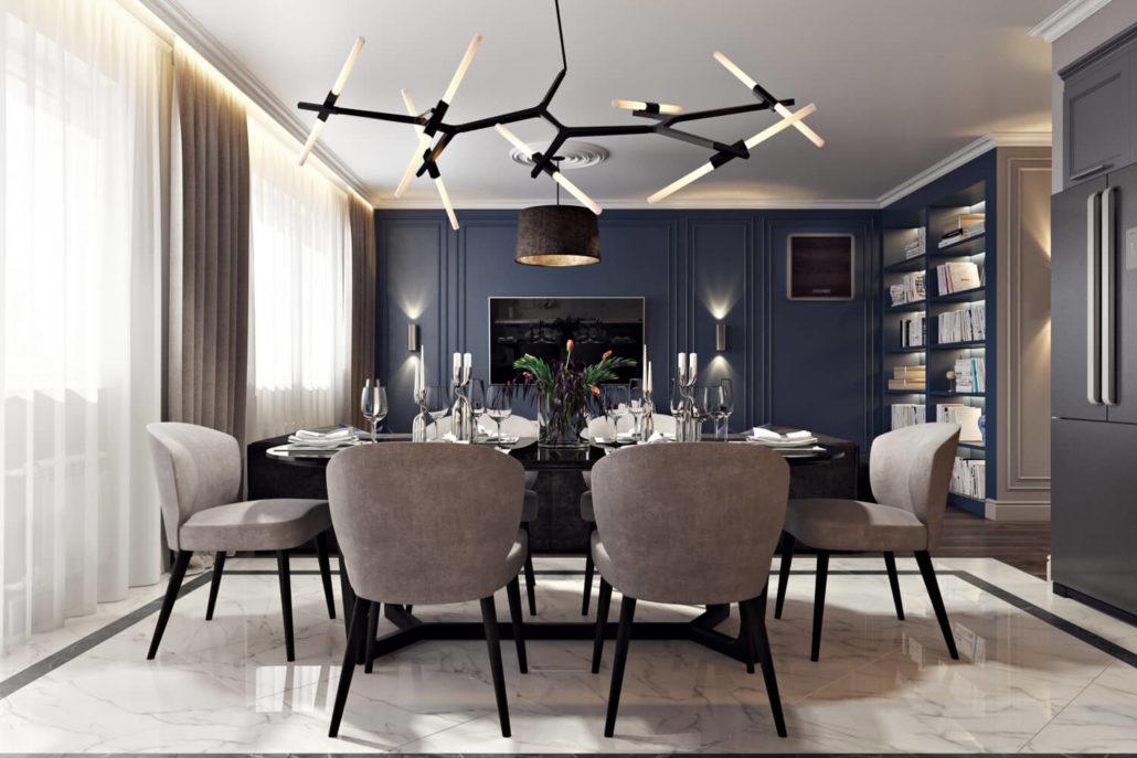 Яркий дизайн интерьера кухни-гостиной с синими акцентами
