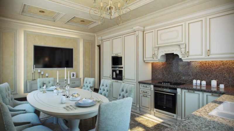 Классический дизайн кухни-столовой с овальным столом