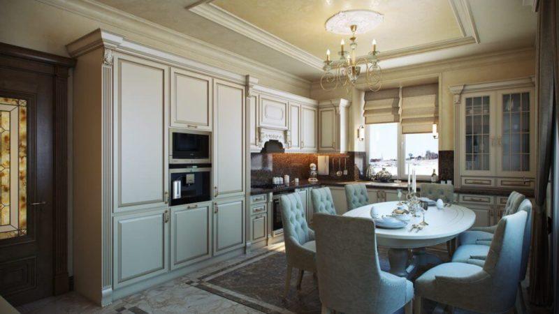 Классический дизайн кухни-гостиной в частном доме