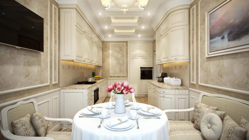 Дизайн интерьера кухни столовой в классике
