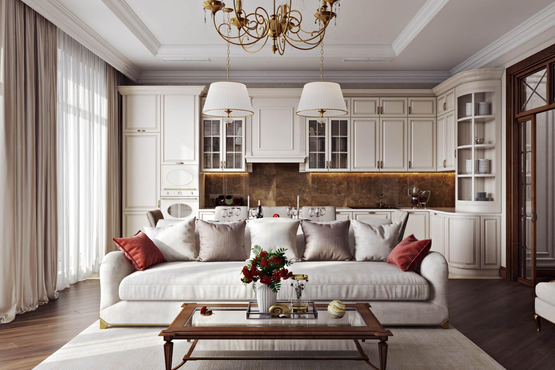 Дизайн-проект кухни-гостиной с зонированием в классическом стиле