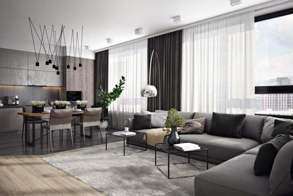 Современный дизайн квартиры с комбинированными напольными покрытиями