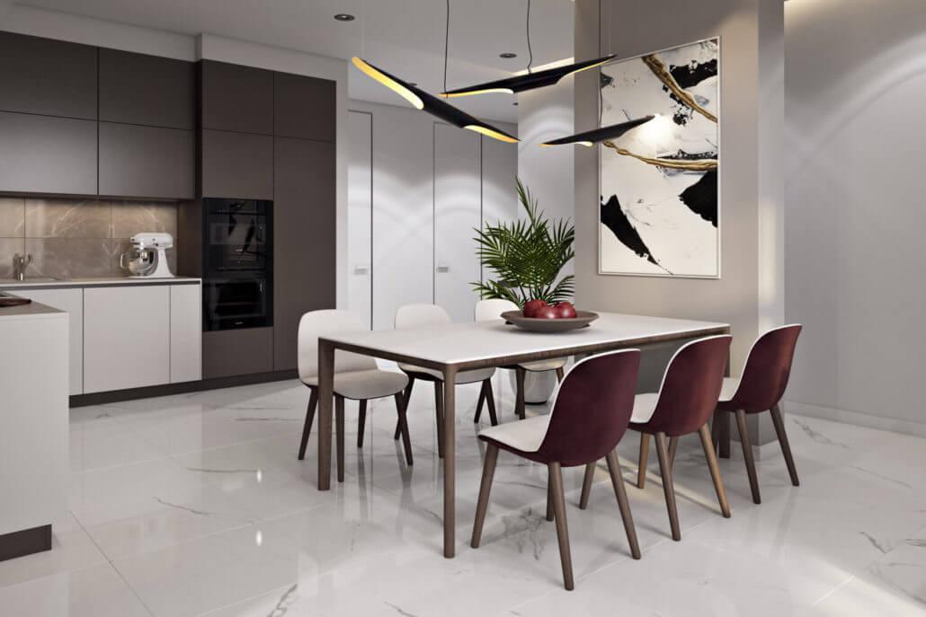 Дизайн кухни-столовой со светлым полом