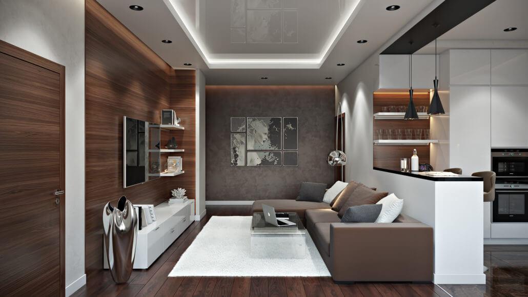 Дизайн гостиной с темным напольным покрытием