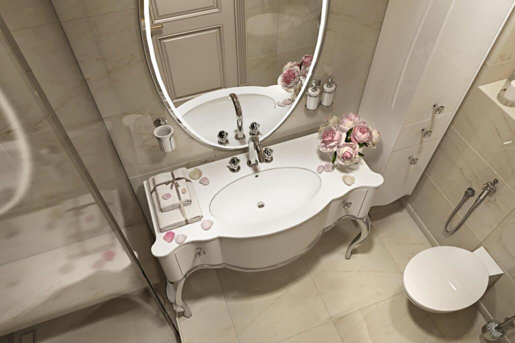 Дизайн интерьера ванной со светлым напольным покрытием